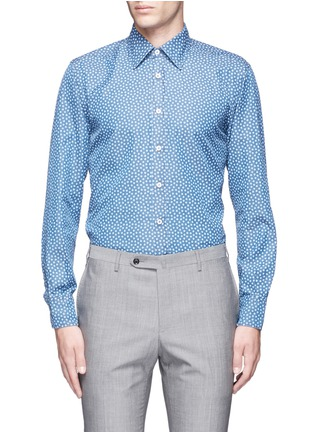 Main View - Click To Enlarge - Canali - Floral print cotton chambray shirt