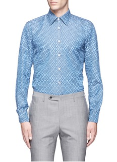 Canali Floral print cotton chambray shirt