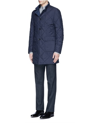 Front View - Click To Enlarge - Canali - Reversible wool and quilted shell coat