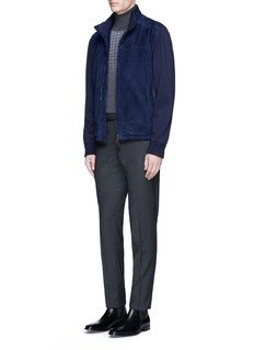 Canali Mixed knit sleeve suede jacket