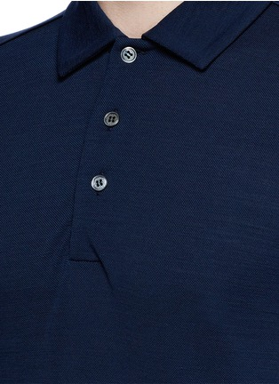 Detail View - Click To Enlarge - Canali - Fleece wool piqué polo shirt