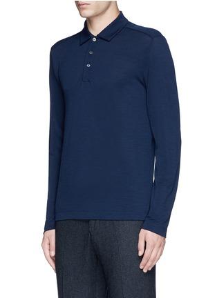Canali-Fleece wool piqué polo shirt