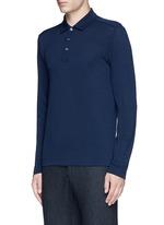 Fleece wool piqué polo shirt