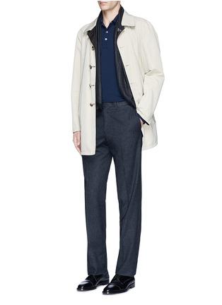 Figure View - Click To Enlarge - Canali - Fleece wool piqué polo shirt