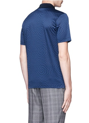 Back View - Click To Enlarge - Canali - Houndstooth cotton polo shirt