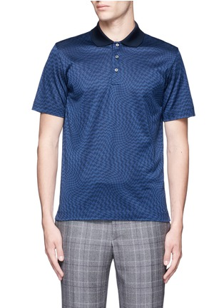 Main View - Click To Enlarge - Canali - Houndstooth cotton polo shirt