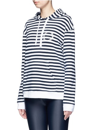 Front View - Click To Enlarge - The Upside - 'Rimini' stripe French terry hoodie