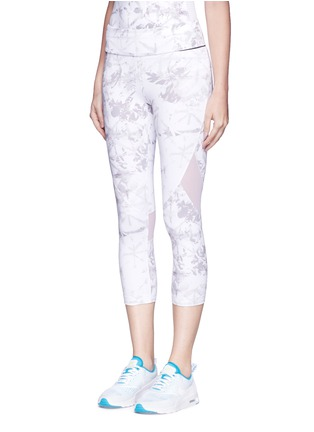 Front View - Click To Enlarge - Alala - 'White Palm' captain performance crop tights