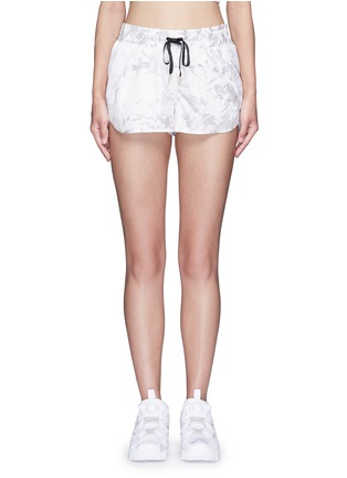 Main View - Click To Enlarge - Alala - 'White Palm' print drawstring running shorts