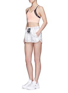 Alala'White Palm' print drawstring running shorts