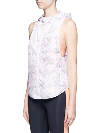 Front View - Click To Enlarge - Alala - 'White Palm' print hooded run vest
