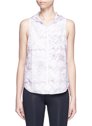 Alala - 'White Palm' print hooded run vest