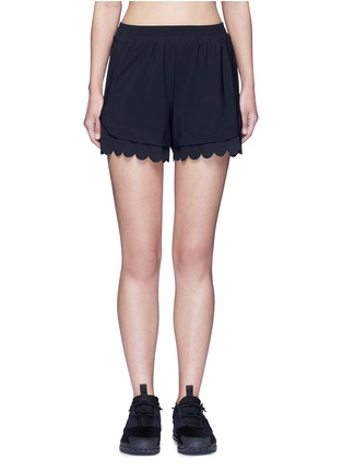 Main View - Click To Enlarge - Koral - 'Loop' elastic seamless scalloped edge shorts