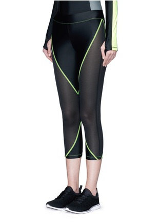 Front View - Click To Enlarge - Laain - Mesh panel performance jersey 3/4 leggings