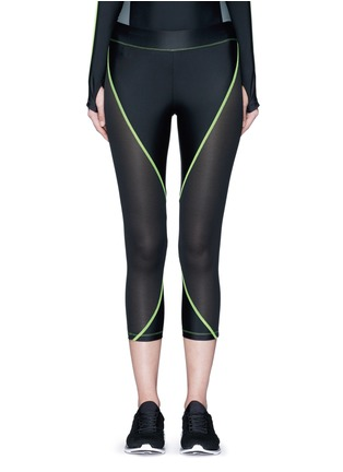 Main View - Click To Enlarge - Laain - Mesh panel performance jersey 3/4 leggings