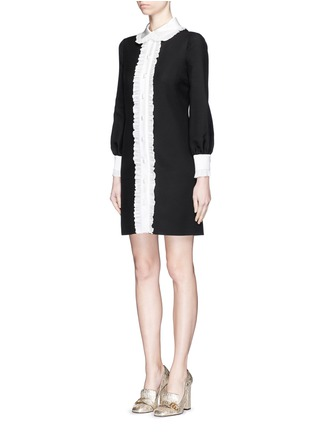 Front View - Click To Enlarge - Gucci - Ruffle trim wool-silk cady shirt dress