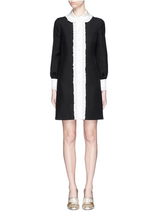 Main View - Click To Enlarge - Gucci - Ruffle trim wool-silk cady shirt dress