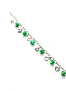 Samuel Kung Diamond sapphire jade charm 18k White Gold bracelet