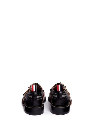 Back View - Click To Enlarge - Thom Browne - Glen plaid and leather longwing Derbies