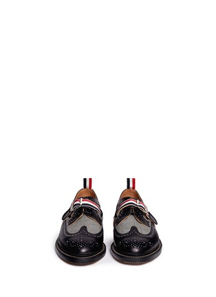 Front View - Click To Enlarge - Thom Browne - Glen plaid and leather longwing Derbies