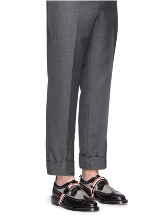 Figure View - Click To Enlarge - Thom Browne - Glen plaid and leather longwing Derbies