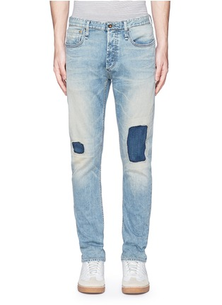 Detail View - Click To Enlarge - Denham - 'Razor' patchwork selvedge denim jeans