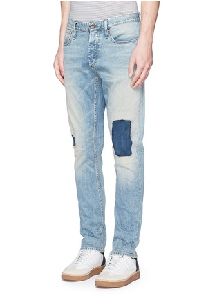 Front View - Click To Enlarge - Denham - 'Razor' patchwork selvedge denim jeans
