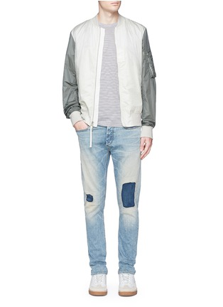 Figure View - Click To Enlarge - Denham - 'Razor' patchwork selvedge denim jeans