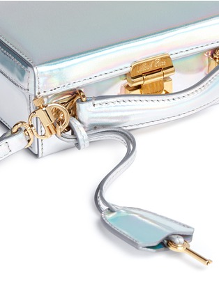 Detail View - Click To Enlarge - Mark Cross - 'Grace Mini Box' holographic leather trunk