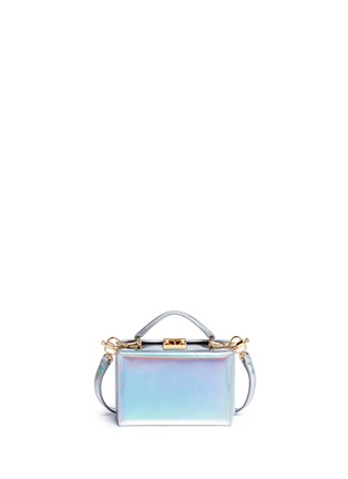 Back View - Click To Enlarge - Mark Cross - 'Grace Mini Box' holographic leather trunk