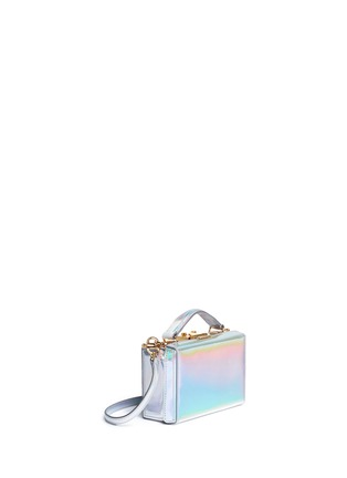 Figure View - Click To Enlarge - Mark Cross - 'Grace Mini Box' holographic leather trunk