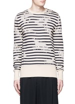 Mending jacquard stripe sweater