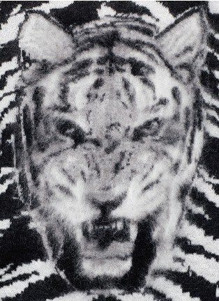 Detail View - Click To Enlarge - Saint Laurent - Brushed tiger head jacquard sweater