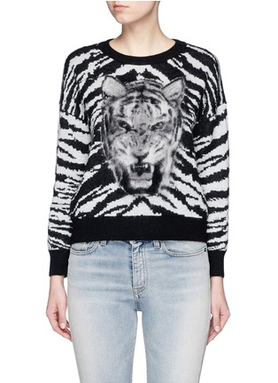 Main View - Click To Enlarge - Saint Laurent - Brushed tiger head jacquard sweater