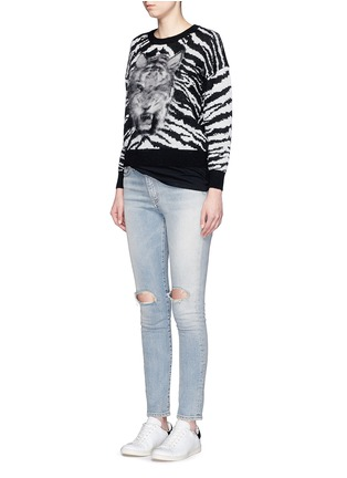 Figure View - Click To Enlarge - Saint Laurent - Brushed tiger head jacquard sweater