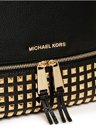 Detail View - Click To Enlarge - Michael Kors - 'Rhea' stud small leather backpack