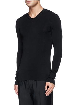 正面 -点击放大 - DOLCE & GABBANA - 纯色V领羊毛针织衫