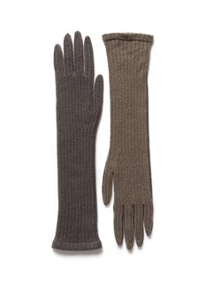 ARMAND DIRADOURIAN Two tone knit cashmere gloves