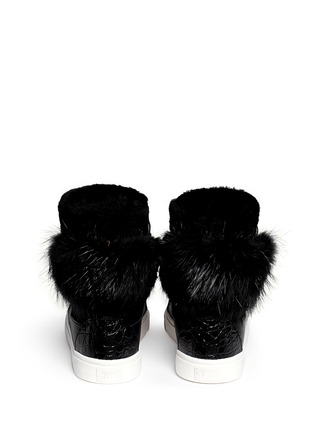 Back View - Click To Enlarge - Giuseppe Zanotti Design - 'London' croc-embossed fur trim sneakers