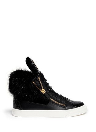 Main View - Click To Enlarge - Giuseppe Zanotti Design - 'London' croc-embossed fur trim sneakers