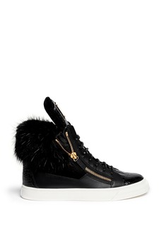 GIUSEPPE ZANOTTI DESIGN 'London' croc-embossed fur trim sneakers