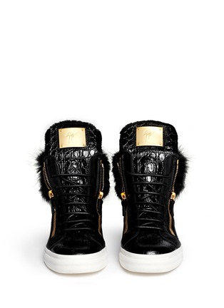 Figure View - Click To Enlarge - Giuseppe Zanotti Design - 'London' croc-embossed fur trim sneakers