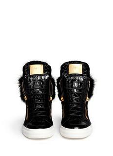 GIUSEPPE ZANOTTI DESIGN'London' croc-embossed fur trim sneakers