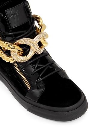 Detail View - Click To Enlarge - Giuseppe Zanotti Design - 'London' rhinestone pavé chain velvet sneakers