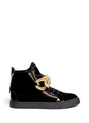 Main View - Click To Enlarge - Giuseppe Zanotti Design - 'London' rhinestone pavé chain velvet sneakers