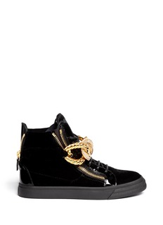 GIUSEPPE ZANOTTI DESIGN'London' rhinestone pavé chain velvet sneakers