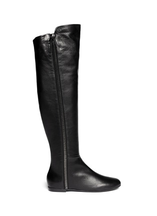 Main View - Click To Enlarge - Giuseppe Zanotti Design - 'Balet' zip leather thigh high boots