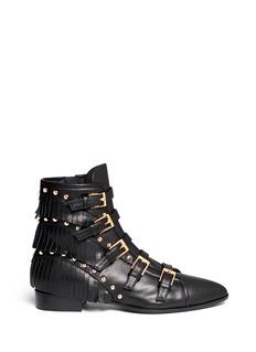 GIUSEPPE ZANOTTI DESIGN'Guns' fringe stud leather boots