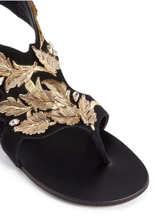 Detail View - Click To Enlarge - Giuseppe Zanotti Design - 'Rock' leaf filigree suede sandals