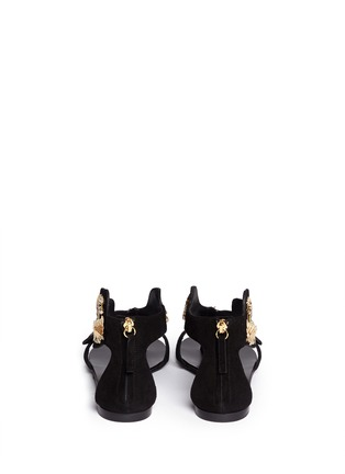 Back View - Click To Enlarge - Giuseppe Zanotti Design - 'Rock' leaf filigree suede sandals